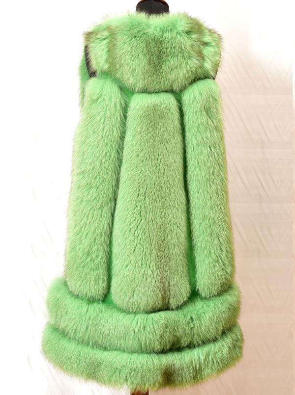 Vesta verde din blana naturala